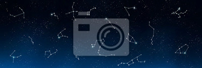 Naklejka Universe background with set of famous constellations