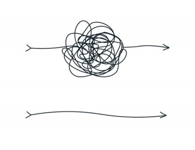Naklejka Unraveling chaos tannle. Psychotherapy hand drawn concept. Messy flat line. Chaos path