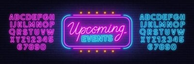 Naklejka Upcoming Events neon sign on brick wall background.