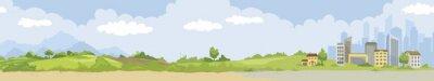 Naklejka Urban and nature landscape. Vector narrow horizontal illustration, from country to city.