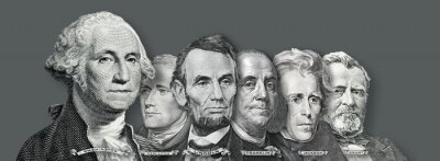 Naklejka US Currency - Presidents and Founding  Fathers of the United states from Dollar Bills
