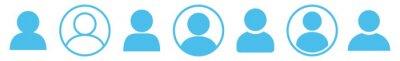 Naklejka User Icon Blue | Avatar Illustration | Client Symbol | Member Profile Logo | Login Head Sign | Isolated | Variations