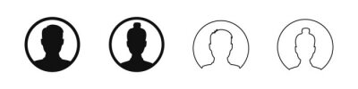Naklejka User profile avatar in circle icon, male and female silhouette in round shape for anonymous internet social media man and woman flat illustration.