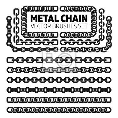 Naklejka ustaw metalowy łańcuch szczotki linki wektor wzorca