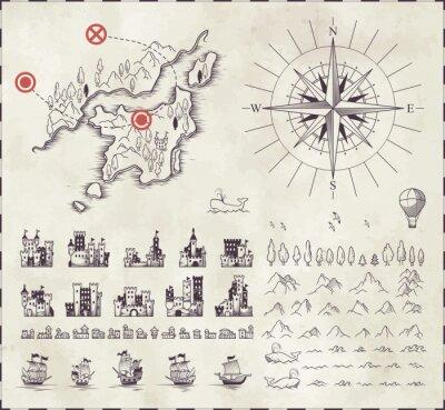 Naklejka Ustaw w średniowiecznej kartografii