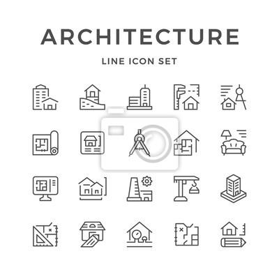 Naklejka Ustawiaj ikony linii architektury