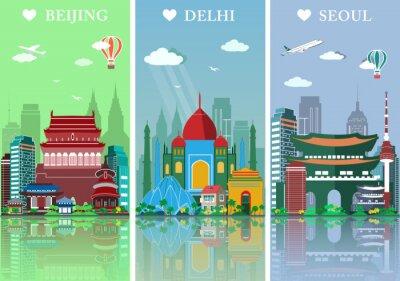 Naklejka Ustawić Miasta horyzontu. Płaskie krajobrazy ilustracji wektorowych. Pekin, Delhi i Seulu miasta skylines designwith zabytki