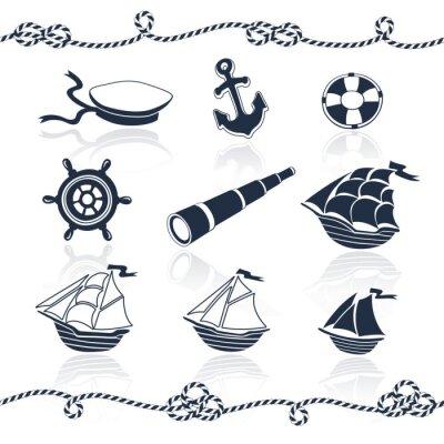 Naklejka Ustawić obiekty morskie. Wektor Kolekcja Marine. Statki, kotwica, liny spyglass, kół, marynarz, ma koło ratunkowe. Elementy morskich na białym tle.