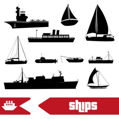 Naklejka ustawić różne okrętów marynarki transportu ikony eps10