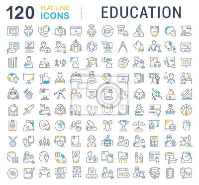 Naklejka Ustawić wektor linii ikony edukacji.