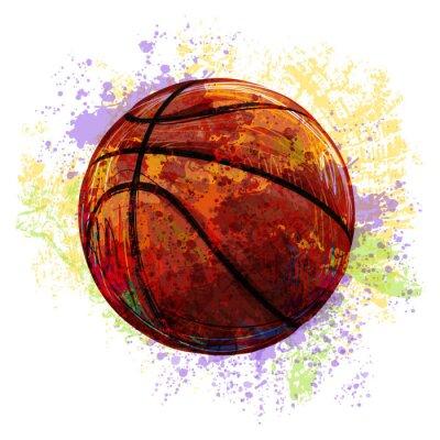 Naklejka Utworzone przez profesjonalnego Koszykówka Artist. Ta ilustracja jest tworzony przez tabletu Wacom za pomocą szczotki grunge i tekstury