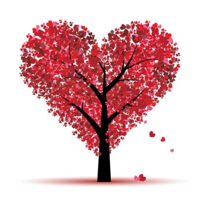 Naklejka Valentine drzewa, miłość, liści z serca