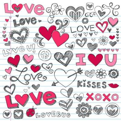 Naklejka Valentine 's Day Love Hearts Vector szkicowy Doodle