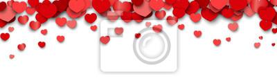 Naklejka Valentines Day Background Design with Heart Stickers Scattered