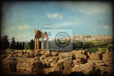 Naklejka Valle dei Templi di Agrigento, tekstury retro