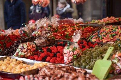 Naklejka Various Sweets For Sale In Market