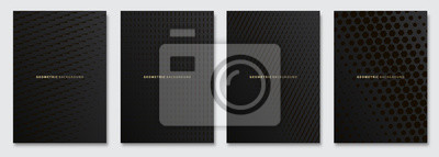 Naklejka Vector abstract background, creative subtle halftone patterns, geometric gradient texture. Deluxe Minimal pattern design. Dark colors. Modern Cover templates set.