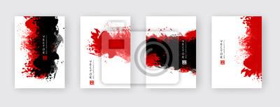 Naklejka vector abstract black red ink brush stroke