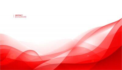 Naklejka Vector abstract red wavy background. Curve flow motion.