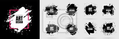 Naklejka Vector background for text. Grunge banners set. Black paint. Brush ink stroke. Isolated square white frame. Element for design poster, cover, invitation, gift card, flyer, social media, promotion.