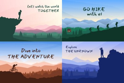 Naklejka Vector backgrounds set. Travel concept of discovering, exploring and observing nature. Hiking. Adventure tourism. Flat design template of gift cards, banner, invitation, poster, website layout.