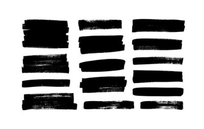 Naklejka Vector black paint, ink brush strokes, rectangular shapes. Dirty grunge design elements, rectangle or background for text. Grungy black smears or rough lines. Hand drawn grunge ink illustration