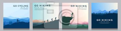 Naklejka Vector brochure cards set. Travel concept of discovering, exploring and observing nature. Hiking. Climbing. Adventure tourism. Flat design for social media, blog post, poster, invitation. gift card.