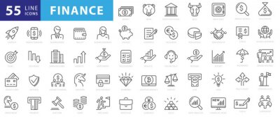 Naklejka Vector business and finance editable stroke line icon set with money, bank, check, law, auction, exchance, payment, wallet, deposit, piggy, calculator, web and more isolated outline thin symbol