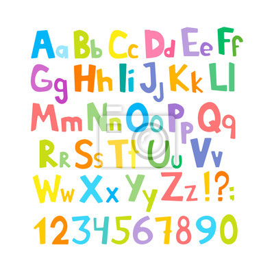 Naklejka Vector cartoon typeface, multicolored kids vector ABC, letters, numbers and symbols. Uppercase and lowercase cute childish signs