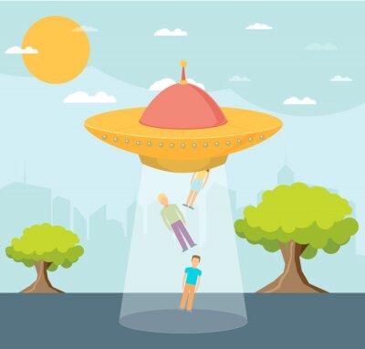 Naklejka Vector Cartoon UFO: People Abduction
