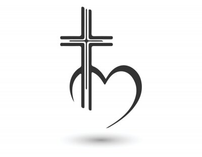 Naklejka Vector Christian logo Heart with a cross on a white background. Isolated over white background. Religion Minimalistic Icon Vector Illustration