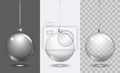 Naklejka Vector christmas szklanej kuli na przezroczystym tle. Xmas ball