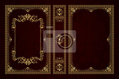 Naklejka Vector classical book cover. Decorative vintage frame or border to be printed on the covers of books. Drawn by the standard size. Color can be changed in a few mouse clicks.