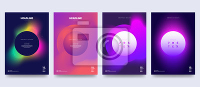 Naklejka Vector colorful neon poster set. Circle shape with neon splash. Abstract background with liquid gradient. Fantastic eclipse. Applicable for banner design, cover, invitation, party flyer.
