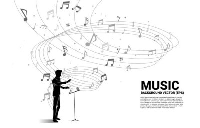 Naklejka vector conductor and music melody note dancing flow . Concept background for song and concert theme.