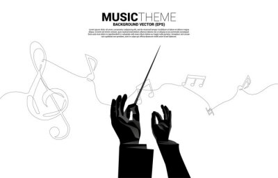 Naklejka Vector conductor hand with music melody note dancing flow from single line . Concept background for song and concert theme.