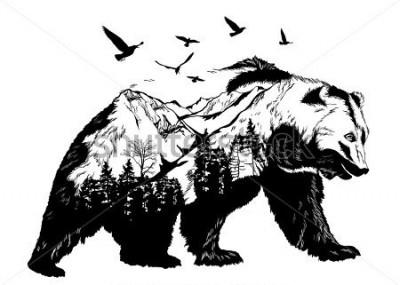Naklejka Vector Double exposure, bear for your design, wildlife concept