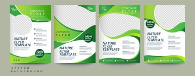 Naklejka Vector eco flyer, poster, brochure, magazine cover template. Modern green leaf, environment design. - Vector