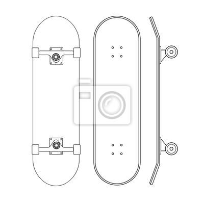 Naklejka Vector flat cartoon line set of skateboard different sides isolated on white background
