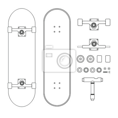 Naklejka Vector flat line drawn set collection of skateboard parts isolated on white background