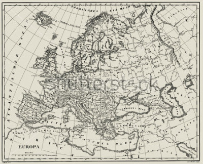Naklejka Vector Historical map of Europe from atlas published in 1851. Other vector maps in my portfolio.