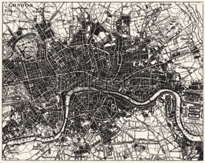Naklejka Vector Historical map of London, England, from atlas published in 1851. Other vector maps in my portfolio.