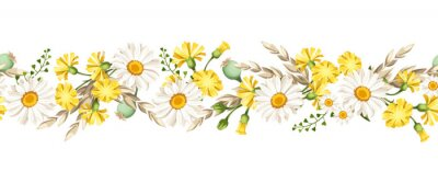 Naklejka Vector horizontal seamless border with white daisies and yellow wild flowers and ears of wheat.