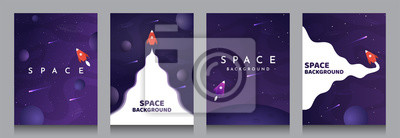 Naklejka Vector illustration in abstract flat style. Minimalistic color space. Space exploration concept. A4 posters with copy space for text. Set of violet backgrounds. Creative dark wallpaper.  Modern design