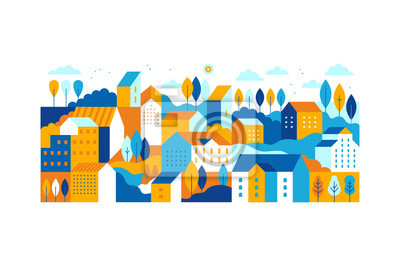 Naklejka Vector illustration in simple minimal geometric flat style - city landscape with buildings, hills and trees