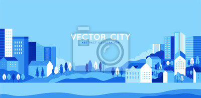 Naklejka Vector illustration in simple minimal geometric flat style - city landscape with buildings, hills and trees - abstract horizontal banner