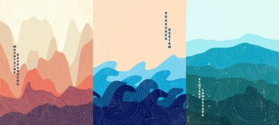 Naklejka Vector illustration landscape. Wood surface texture. Hills, seascape, mountains. Japanese wave pattern. Mountain background. Asian style. Design for poster, book cover, web template, brochure.
