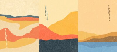 Naklejka Vector illustration landscape. Wood surface texture. Japanese wave pattern. Mountain background. Asian style. Sunset scene. Sea backdrop. Design for poster, book cover, web template, brochure.