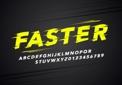 Naklejka vector illustration modern sport alphabet and number font. Typography for racing and running