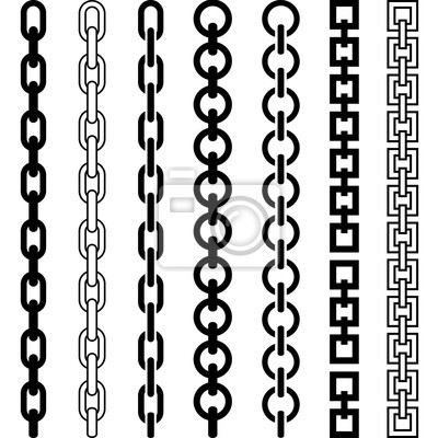 Naklejka Vector illustration of chain pattern set of braided ropes in black and white color